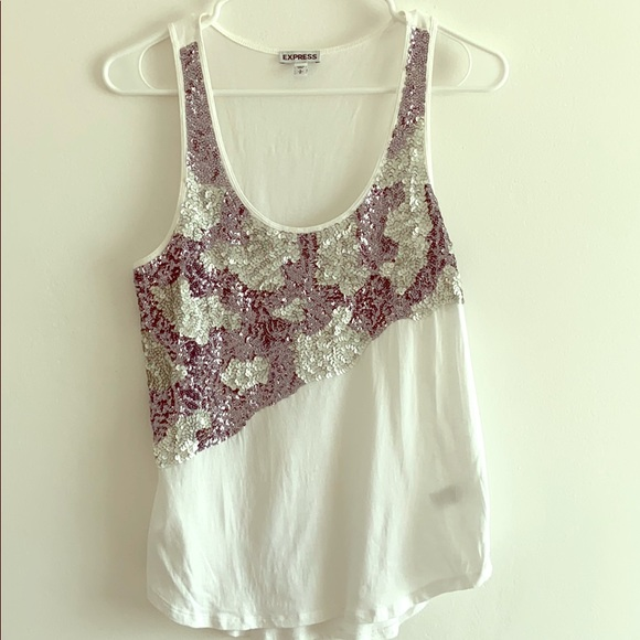 Express sequin front white tank top